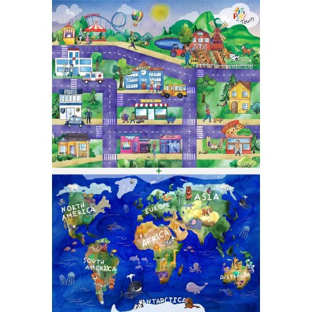 World & City Landscape Double Sided Playboard